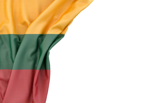 Flag of Lithuania in the corner on white background. Isolated, contains clipping path - slon.pics - free stock photos and illustrations