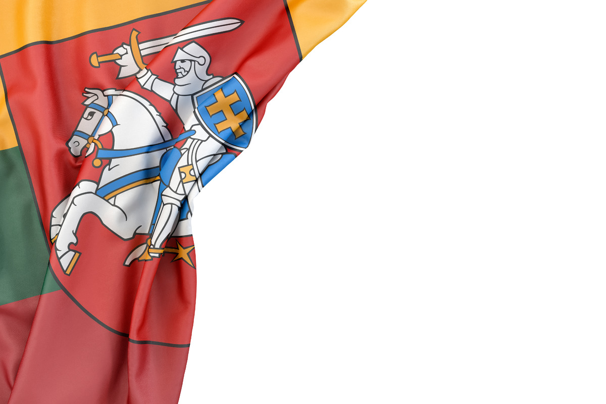 Flag of Lithuania with Coat of Arms in the corner on white background. Isolated, contains clipping path - slon.pics - free stock photos and illustrations