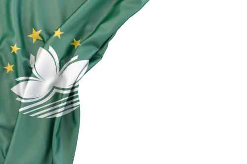Flag of Macau in the corner on white background. Isolated, contains clipping path - slon.pics - free stock photos and illustrations