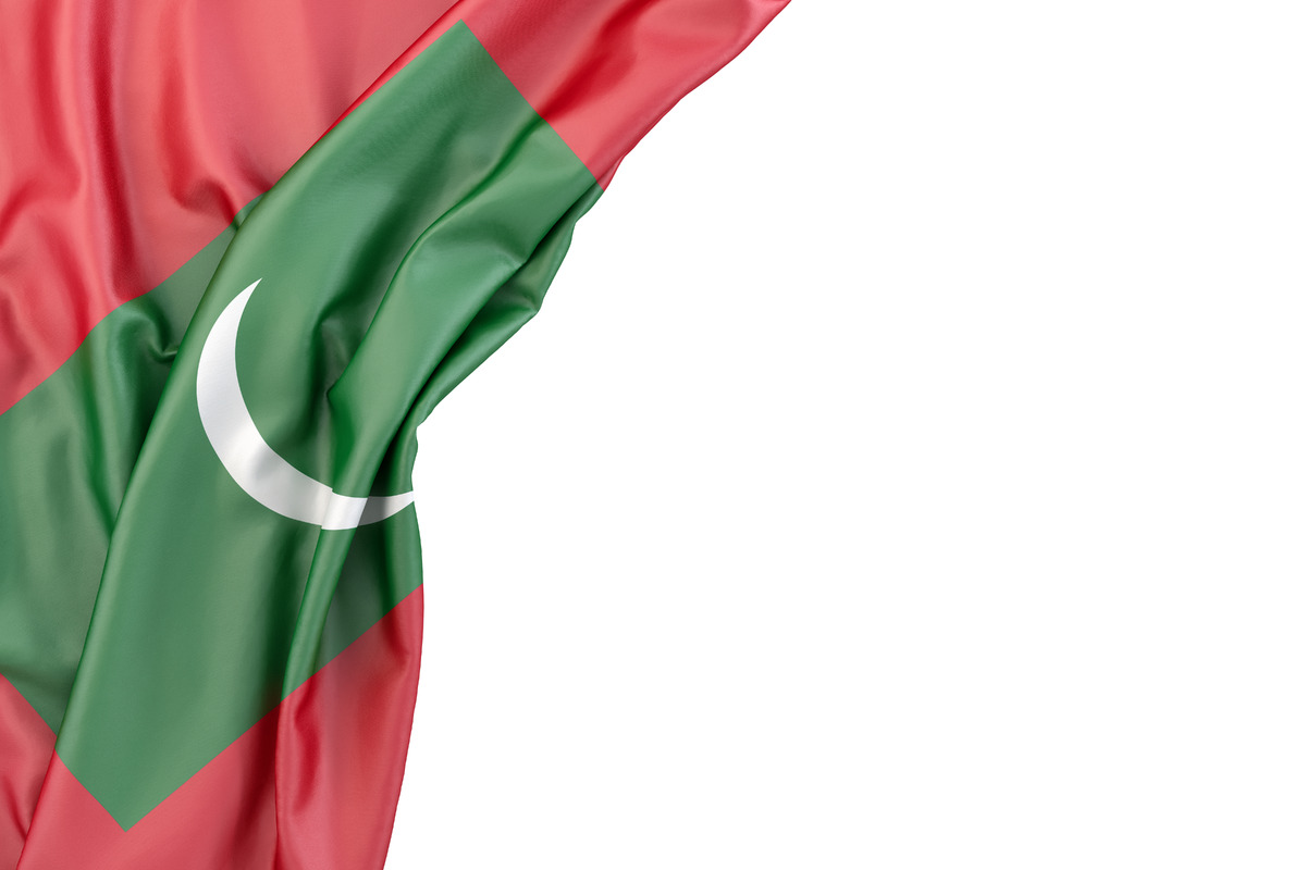 Flag of Maldives in the corner on white background. Isolated, contains clipping path - slon.pics - free stock photos and illustrations