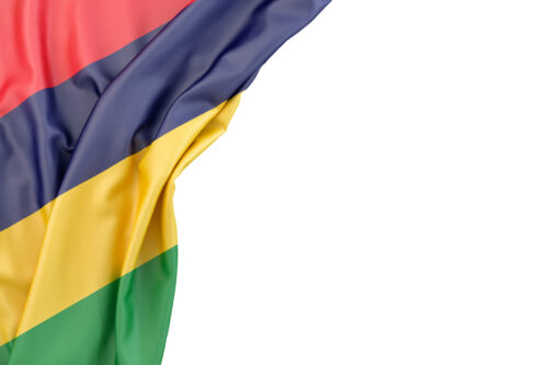 Flag of Mauritius in the corner on white background. Isolated, contains clipping path - slon.pics - free stock photos and illustrations