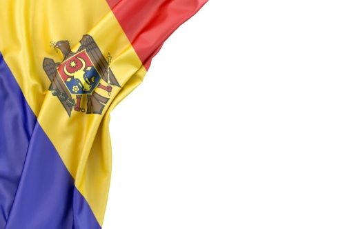 Flag of Moldova in the corner on white background. Isolated, contains clipping path - slon.pics - free stock photos and illustrations