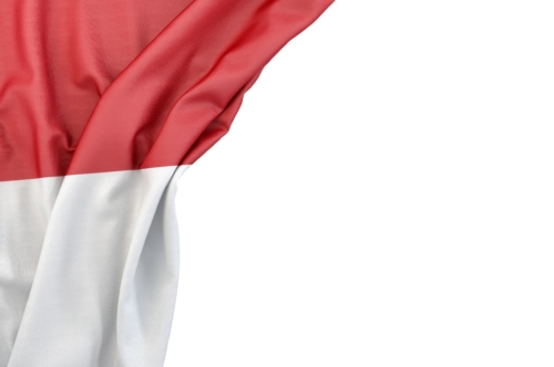 Flag of Monaco in the corner on white background. Isolated, contains clipping path - slon.pics - free stock photos and illustrations