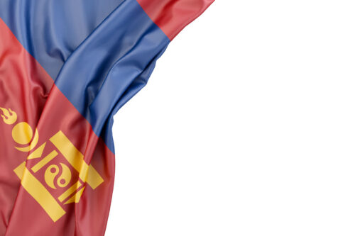 Flag of Mongolia in the corner on white background. Isolated, contains clipping path - slon.pics - free stock photos and illustrations