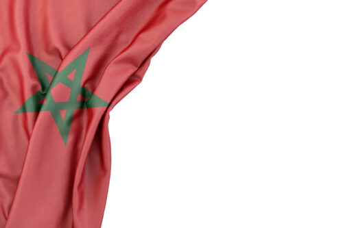 Flag of Morocco in the corner on white background. Isolated, contains clipping path - slon.pics - free stock photos and illustrations