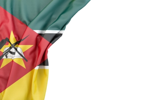 Flag of Mozambique in the corner on white background. Isolated, contains clipping path - slon.pics - free stock photos and illustrations
