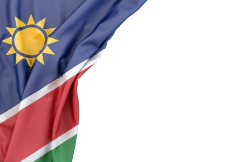 Flag of Namibia in the corner on white background. Isolated, contains clipping path - slon.pics - free stock photos and illustrations