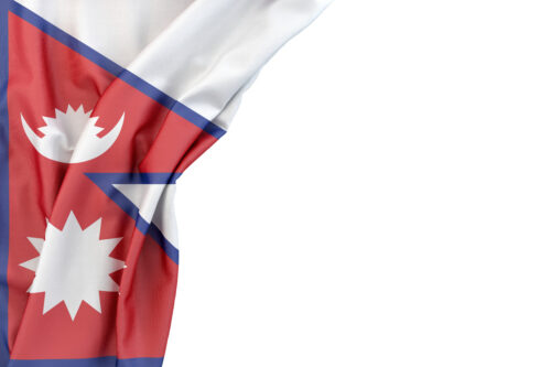 Flag of Nepal in the corner on white background. Isolated, contains clipping path - slon.pics - free stock photos and illustrations