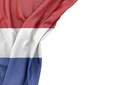 Flag of Netherlands in the corner on white background. Isolated, contains clipping path - slon.pics - free stock photos and illustrations