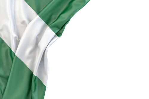 Flag of Nigeria in the corner on white background. Isolated, contains clipping path - slon.pics - free stock photos and illustrations