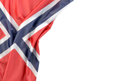 Flag of Norway in the corner on white background. Isolated, contains clipping path - slon.pics - free stock photos and illustrations