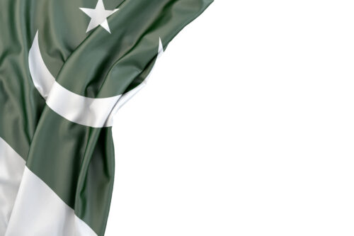 Flag of Pakistan in the corner on white background. Isolated, contains clipping path - slon.pics - free stock photos and illustrations