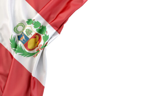 Flag of Peru in the corner on white background. Isolated, contains clipping path - slon.pics - free stock photos and illustrations