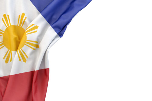 Flag of Philippines in the corner on white background. Isolated, contains clipping path - slon.pics - free stock photos and illustrations