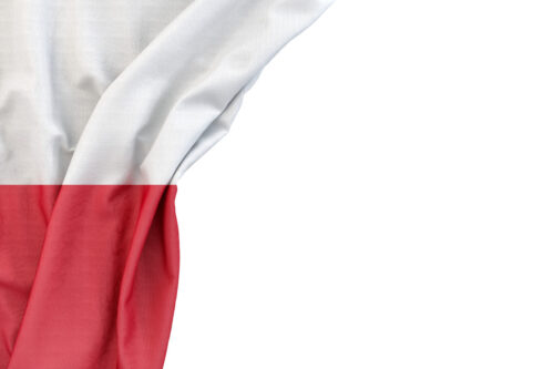 Flag of Poland in the corner on white background. Isolated, contains clipping path - slon.pics - free stock photos and illustrations