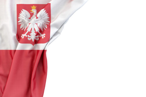 Flag of Poland with coat of arms in the corner on white background. Isolated, contains clipping path - slon.pics - free stock photos and illustrations