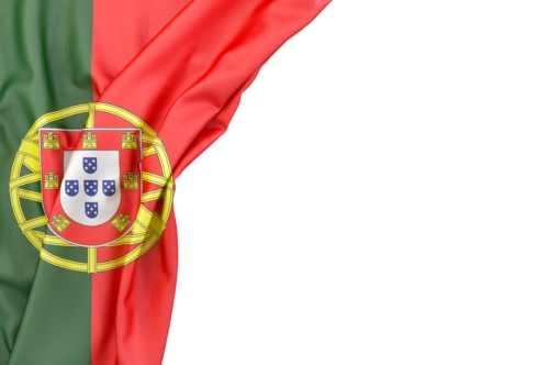 Flag of Portugal in the corner on white background. Isolated, contains clipping path - slon.pics - free stock photos and illustrations
