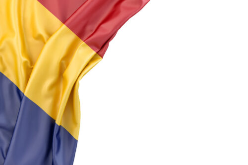 Flag of Romania in the corner on white background. Isolated, contains clipping path - slon.pics - free stock photos and illustrations