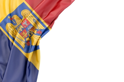 Flag of Romania with coat of arms in the corner on white background. Isolated, contains clipping path - slon.pics - free stock photos and illustrations
