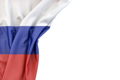 Flag of Russia in the corner on white background. Isolated, contains clipping path - slon.pics - free stock photos and illustrations