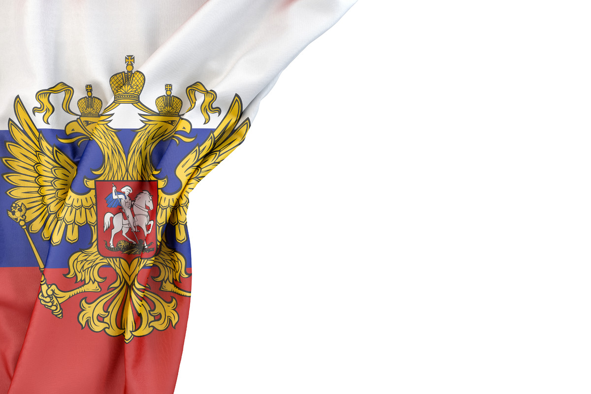 Flag of Russia with coat of arms in the corner on white background. Isolated, contains clipping path - slon.pics - free stock photos and illustrations