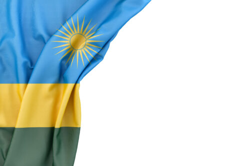 Flag of Rwanda in the corner on white background. Isolated, contains clipping path - slon.pics - free stock photos and illustrations