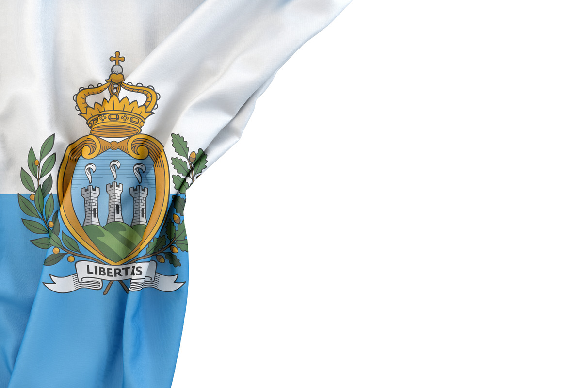 Flag of San Marino in the corner on white background. Isolated, contains clipping path - slon.pics - free stock photos and illustrations