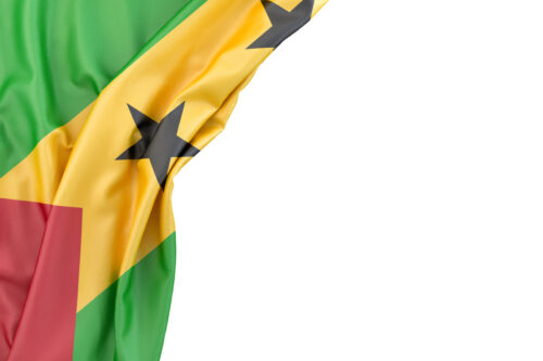 Flag of Sao Tome and Principe in the corner on white background. Isolated, contains clipping path - slon.pics - free stock photos and illustrations