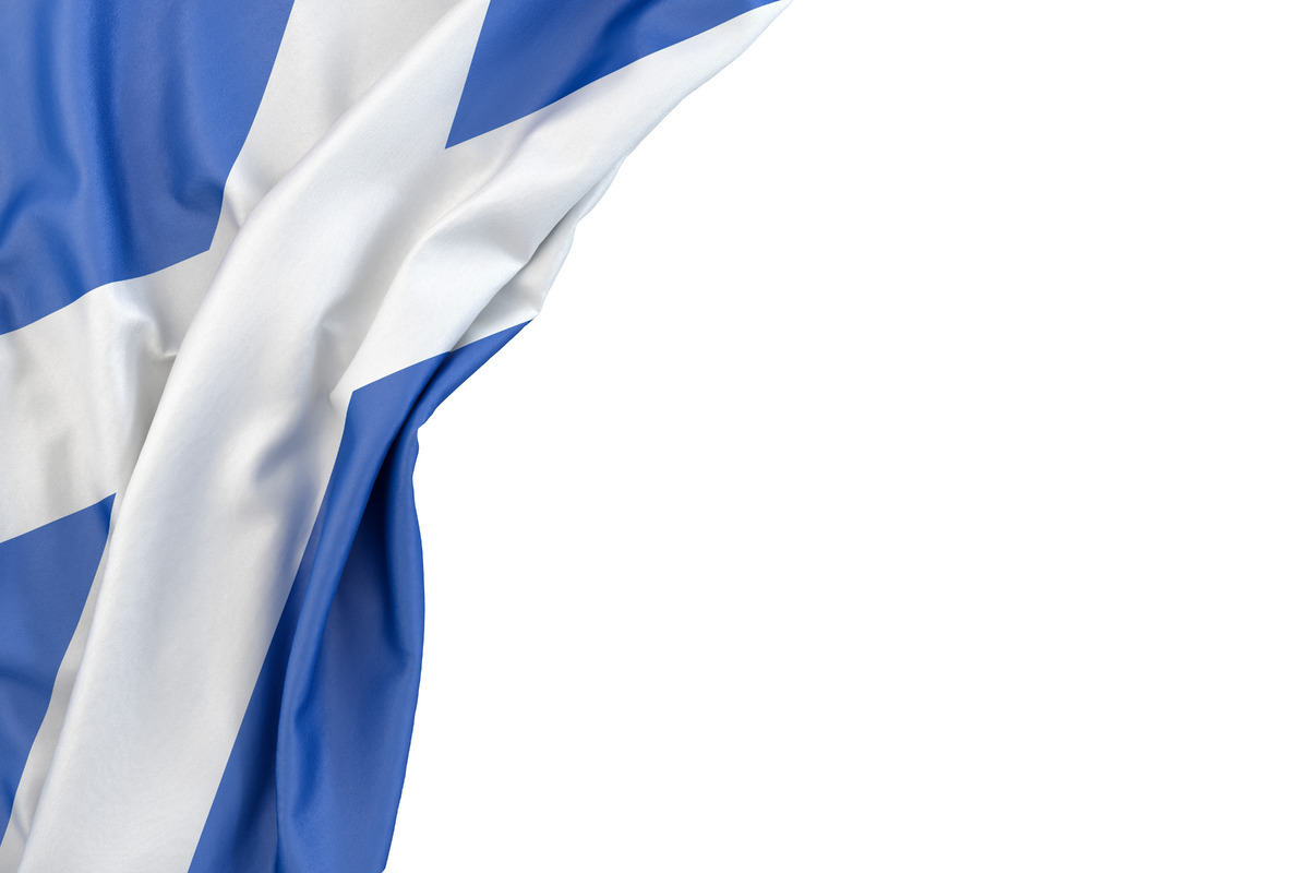 Flag of Scotland in the corner on white background. Isolated, contains clipping path - slon.pics - free stock photos and illustrations
