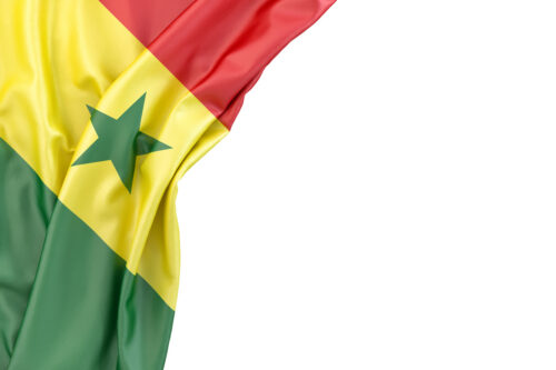 Flag of Senegal in the corner on white background. Isolated, contains clipping path - slon.pics - free stock photos and illustrations