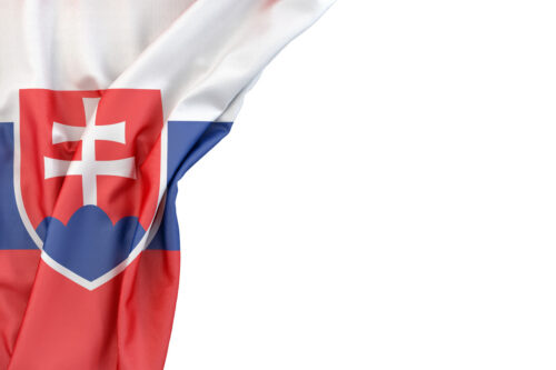 Flag of Slovakia in the corner on white background. Isolated, contains clipping path - slon.pics - free stock photos and illustrations