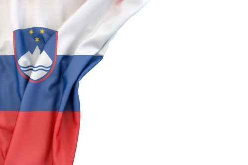 Flag of Slovenia in the corner on white background. Isolated, contains clipping path - slon.pics - free stock photos and illustrations