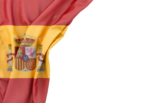 Flag of Spain in the corner on white background. Isolated, contains clipping path - slon.pics - free stock photos and illustrations