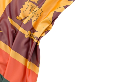 Flag of Sri Lanka in the corner on white background. Isolated, contains clipping path - slon.pics - free stock photos and illustrations