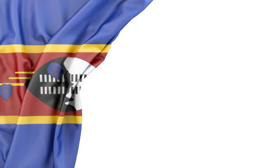 Flag of Swaziland in the corner on white background. Isolated, contains clipping path - slon.pics - free stock photos and illustrations