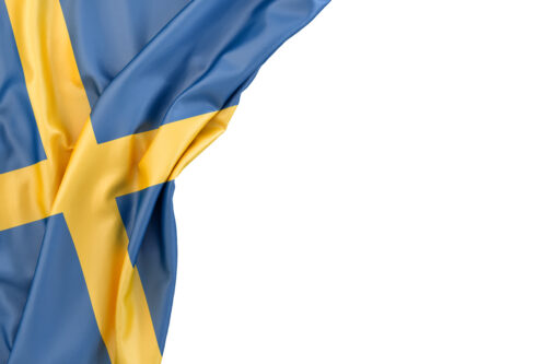 Flag of Sweden in the corner on white background. Isolated, contains clipping path - slon.pics - free stock photos and illustrations