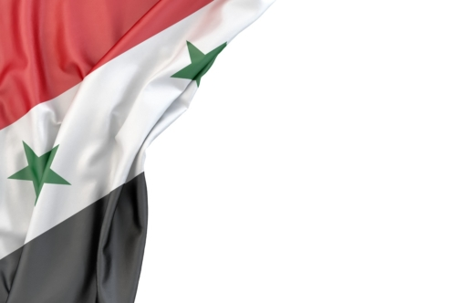 Flag of Syria in the corner on white background. Isolated, contains clipping path - slon.pics - free stock photos and illustrations