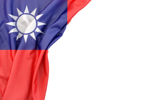 Flag of Taiwan in the corner on white background. Isolated, contains clipping path - slon.pics - free stock photos and illustrations
