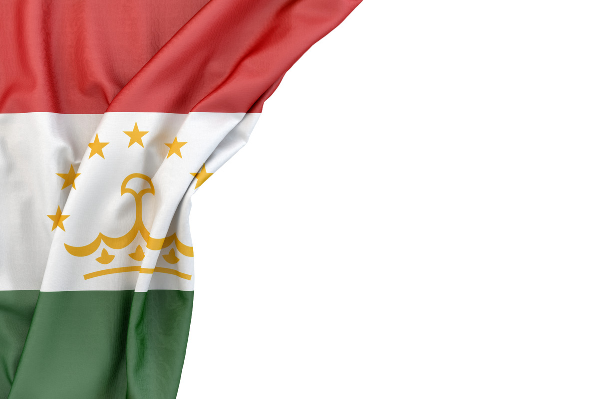 Flag of Tajikistan in the corner on white background. Isolated, contains clipping path - slon.pics - free stock photos and illustrations