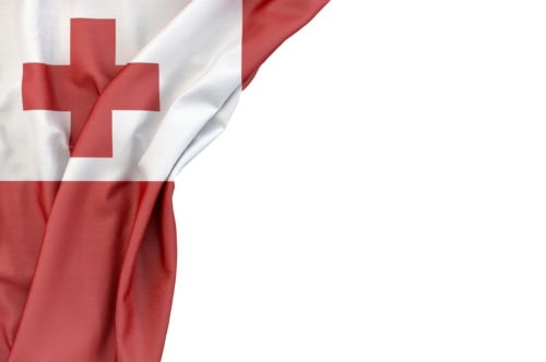 Flag of Tonga in the corner on white background. Isolated, contains clipping path - slon.pics - free stock photos and illustrations