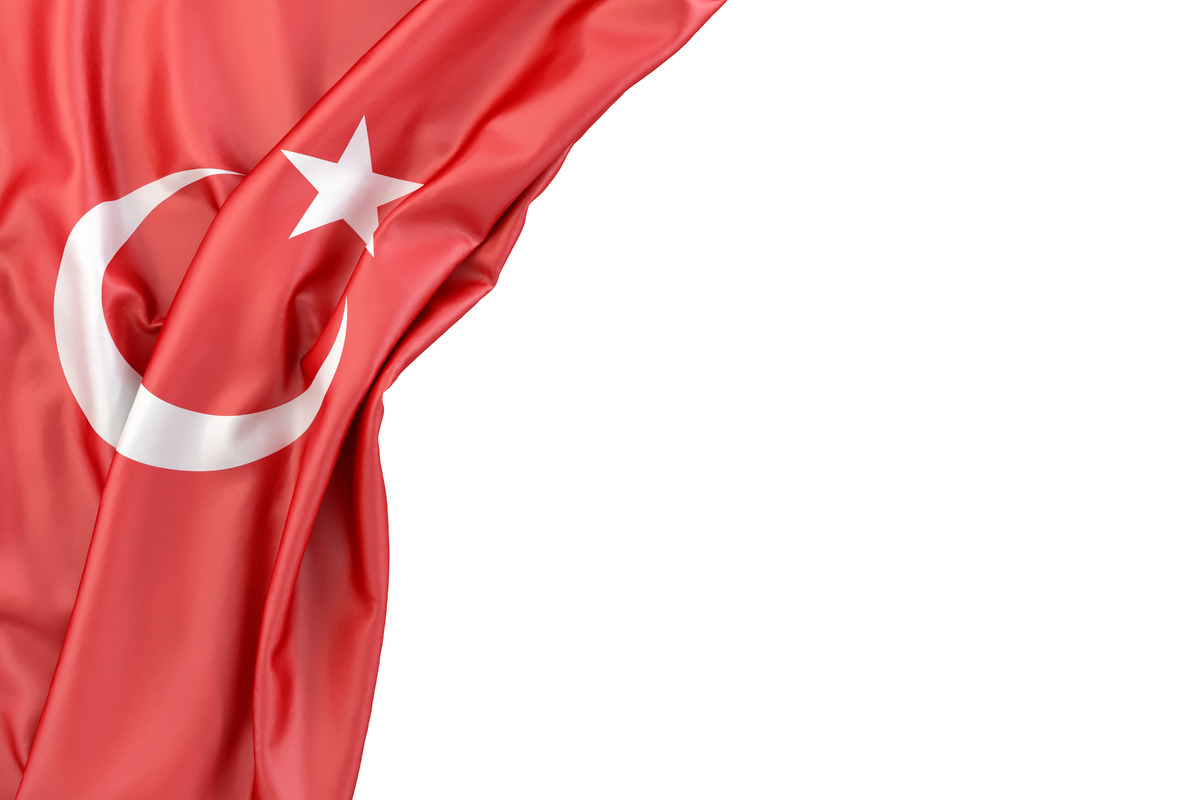 Flag of Turkey in the corner on white background. Isolated, contains clipping path - slon.pics - free stock photos and illustrations