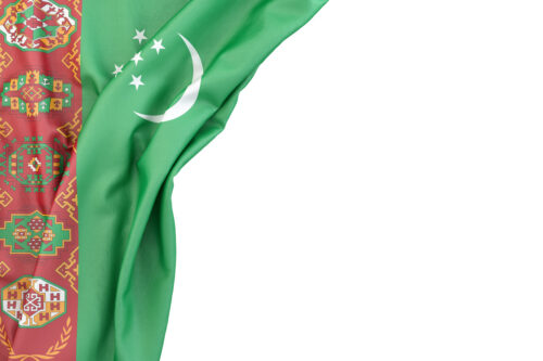 Flag of Turkmenistan in the corner on white background. Isolated, contains clipping path - slon.pics - free stock photos and illustrations