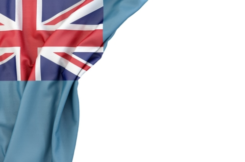 Flag of Tuvalu in the corner on white background. Isolated, contains clipping path - slon.pics - free stock photos and illustrations