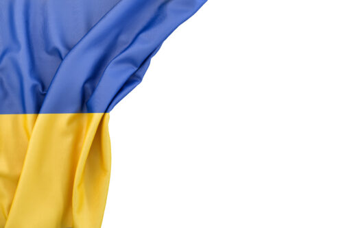 Flag of Ukraine in the corner on white background. Isolated, contains clipping path - slon.pics - free stock photos and illustrations