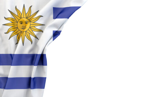 Flag of Uruguay in the corner on white background. Isolated, contains clipping path - slon.pics - free stock photos and illustrations