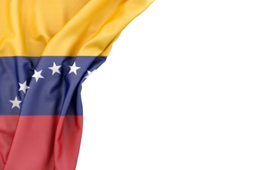Flag of Venezuela in the corner on white background. Isolated, contains clipping path - slon.pics - free stock photos and illustrations