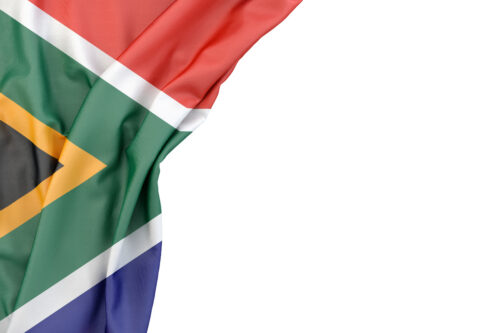 Flag of the Republic of South Africa in the corner on white background. Isolated, contains clipping path - slon.pics - free stock photos and illustrations