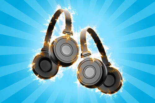 Flaming headphones. 3d illustration - slon.pics - free stock photos and illustrations