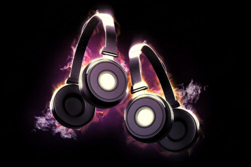Flaming headphones. Musical concept. 3D illustration - slon.pics - free stock photos and illustrations