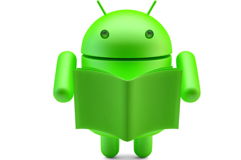 Google Android Robot with book. 3D illustration. Isolated. Contains clipping path - slon.pics - free stock photos and illustrations